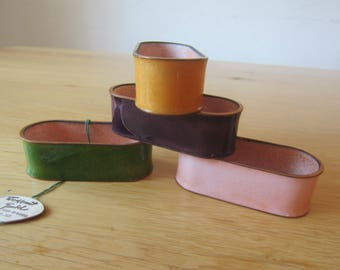 "Mid century 50s design ""Napkin rings"" made of brass and enamel NOS"
