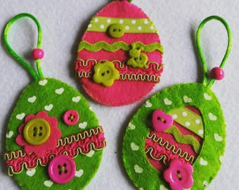 Easter felt ornaments, felt eggs, set of 3, READY TO SHIP