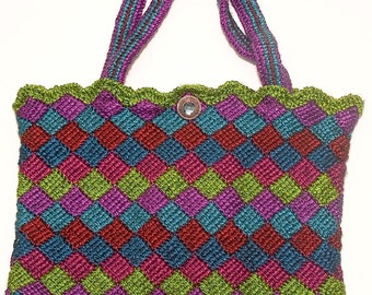 Elegant Entrelac Tote - Green Top/Mother's Day Gift/Graduation Gift for Her