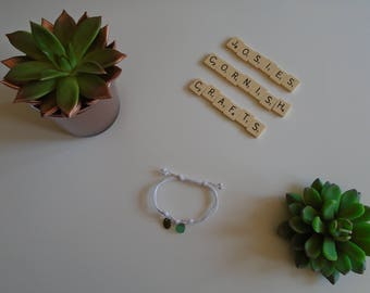 white adjustable bracelet gift with two green sea glass charms