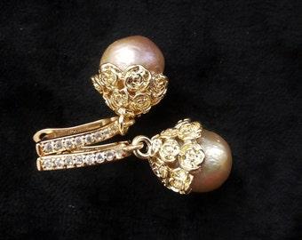 Chanel inspired Kasumi baroque pearl camelia earrings