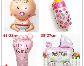 4pcs/lot baby girl balloons foil ballons for baby birthday party decoration baby shower baloes baby stroller balloon