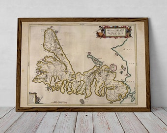Ancient Map of Skye, Western Isles, Kyle, Scotland | Fine Art Giclée Print of vintage Cartography, old map of Skye