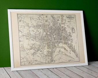 Aberdeen, vintage town plan   Fine Art Print   Antique map of Aberdeen, River Dee, Aberdeenshire from 1883