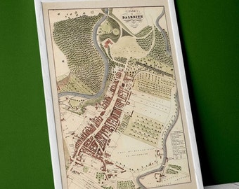 Dalkeith, Edinburgh antique town plan   Fine Art Print   Old, vintage map of Edinburgh, Scotland. Near river Esk, Midlothian - 1883