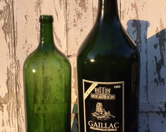 "Two Vintage FRENCH Huge 25.5""H & 19.5""H WINE BOTTLES Green Glass Wax Carboy Trendy !!! Home Decor, seen in magazines"