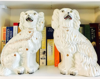 Staffordshire dogs.  Authentic 19th century Staffordshire spaniels  genuine Victorian not reproduction