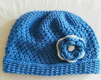BROOKLYN hat, delightful soft blue slouchy, rolled brim, flower embellishment, beanie hat, slouchy hat