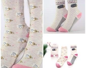 Cute Women's/Girl's Animal Pattern Porcupine Cotton Socks 2 Pairs