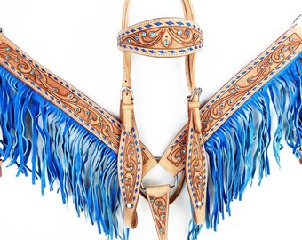 Blue Buck Stitch Fringe Leather Show Headstall Western Horse Trail Barrel Racing Bridle Breast Collar Plate Tack Set