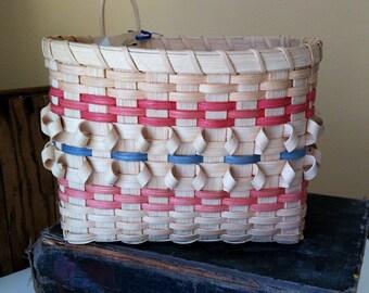 Vintage Basket, Wall Basket , 1994 Hand made, signed and dated, New, Blue and Rose Basket