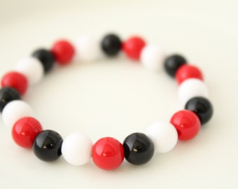 Red and Black Bracelet - Lady Bug Bracelet - Red Black Bracelet Jewlery - Girls Bead Bracelet - Kids Fun Jewelry Small Bead Bracelet