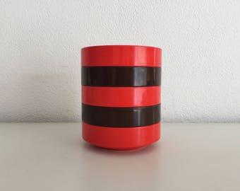 5x Rosti Mepal Denmark retro oranje/rood en bruine schaaltjes - Vintage 1970's  - kommen -  bowls