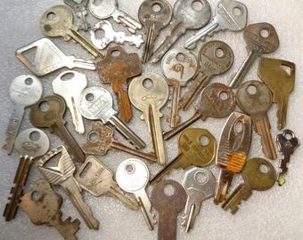 30 Vintage Keys Old Master Keys Ford Key Suitcase Key Padlock Keys Gas Key Rusty Keys all Keys Lot