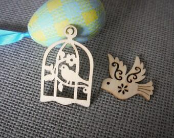 10 Lazer cut wooden embellishment crafty bird cage/ bird, MDF Birdcage/bird, Plain Birdcage/bird, wooden shape