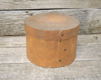 Primitive Cheese Box, Vintage Round Cheese Box, Lidded Cheese Box