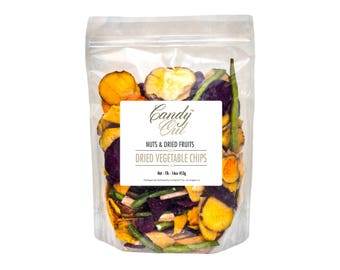 CandyOut Vegetable Chips 1 Pound Salted Dried Vegetables in Sealed Reusable Bag