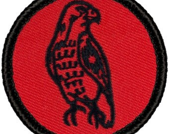 Red & Black Hawk Patch (R002) 2 Inch Diameter Embroidered Patch