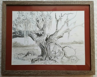 "Oak tree in swamp original 9"" x 12"" pen and ink drawing (11x14 framed)"