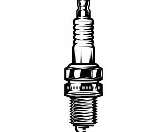 Spark Plug #1 Mechanic Motor Engine Ignition Auto Car Part Biker Motorcycle Repair Service Shop Logo .SVG .EPS .PNG Vector Cut Cutting File