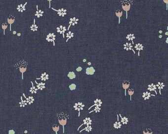 1/2 yard Art Gallery Fabric Denim, 100% cotton denim, Ditsy Abrasion, pink mint and white  flowers