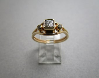 14k Gold Diamond Ring / Natural Diamond Cube / Murphy Design Overstock
