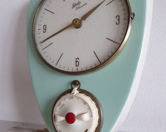 Schatz elexacta mint green vintage wall clock kitchen kitchen clock ceramic top condition