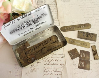 Vintage Lot of Small Brass Stencils in Tin Box