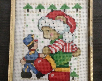 4x5 Finished Christmas Teddy Bear with Toy Soldier Cross Stitch