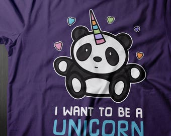I Want to be a Unicorn Panda Shirt, Panda Unicorn Lover, Panda Tshirt, Unicorn Shirt, Unicorn Gifts, Panda Gifts, Proceed to Charity