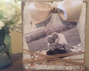 Farmhouse Picture Frame, Rustic Picture Frame, Wood Block Frame, Picture Frame, Rustic Wedding Centerpiece,  Farmhouse decor, Rustic decor,