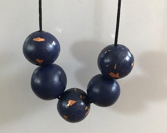 Blue and Copper Polymer Clay Necklace; Polymer Clay Jewelry