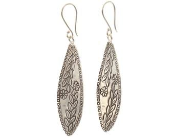 Sterling Silver Leaf Shaped Flowered Detailed Earrings