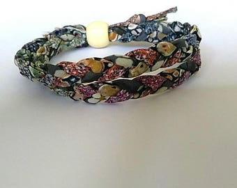 Multi-coloured Liberty Print fabric bracelet