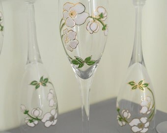 """Set of 5 vintage champagne flutes  from house""""Perrier-Jouet"""" hand-painted"""