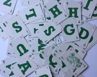 Vintage script scrabble game- Complete Set Alphabet Cards - Paper Ephemera Lot 53 Alfabet letter cards