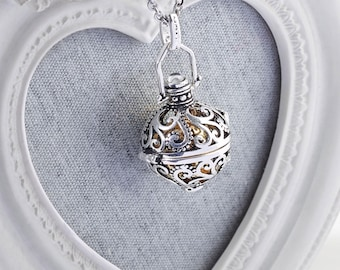 Harmony Cage KRISTEN with Shiny Gold Bola Ball Pendant & Necklace - Pregnancy Maternity Mexican Angel Caller Mum to Be