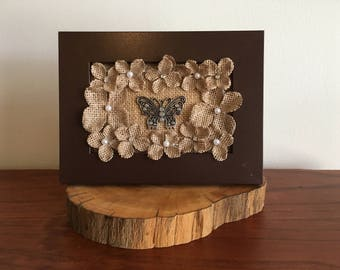 Country Burlap Flowers Wooden Frame Gift Decor
