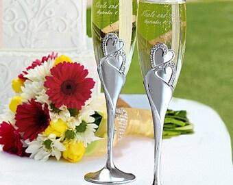 "10 1/4"" 2-tone Brushed Silver Heart Flute, Wedding Flute Set, Heart Flute Set, Wedding Cake Set"