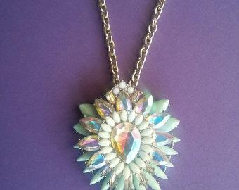 Bohemian Crystal Starburst Necklace, Boho Crystal Necklace,