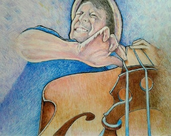 Upright bass player colored pencil drawing