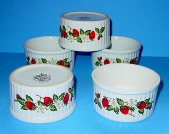Sheffield Japan Strawberries N' Cream Ramekins (5) Individual Bakers, Custard Dishes, Stoneware, Oven, Microwave Safe