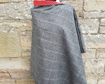Scottish Tweed Poncho with polka dot lining