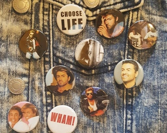 George Michael, WHAM, Buttons Pins Magnets 1.25 inch