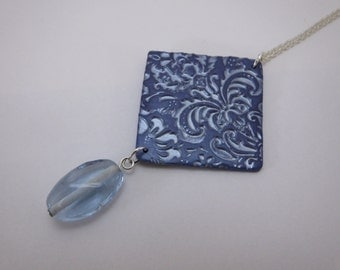 Polymer Clay Blue Pendant Necklace