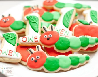The Very Hungry Caterpillar Theme Cookies  (one dozen)