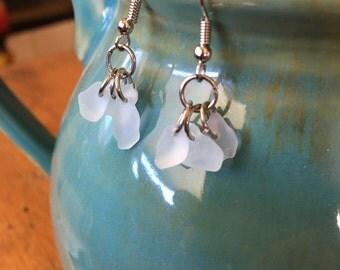Handmade, Boho, Blue, Beach, Tumbled, Sea, Beach Glass, Dangle Earrings