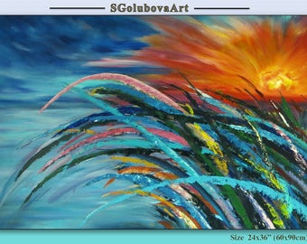 Original painting Modern Art Acrylic Painting Sunset Painting Blue Abstract painting Sea Landscape painting Wall decor Fine art Summer beach
