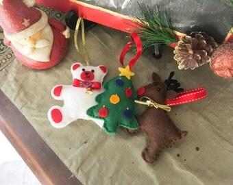 Personalised Christmas Decoration - 3 Pack Felt Decorations