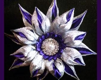 Kanzashi flower hair bow or brooch